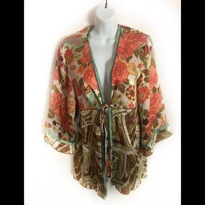 CAbi 100% Silk Kimono Top Ties In Front Sz.L